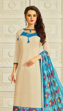 Beige Cotton Salwar Kameez