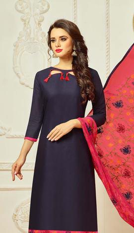 Black Cotton Salwar Kameez