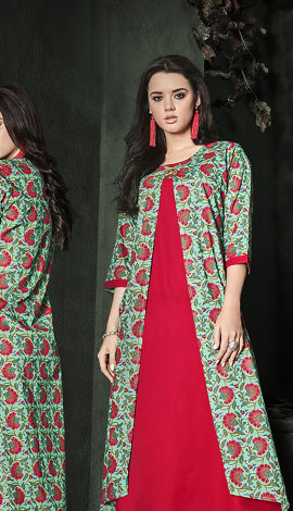 Red, Turquoise, Multi Cotton, Rayon Kurti