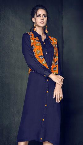 Inner: Navy Blue; Jacket: Orange; Multi Inner: Rayon; Jacket: Cotton Rayon Kurti