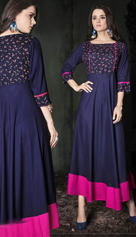Navy Blue, Pink Rayon Kurti