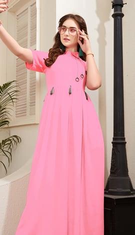 Pink Rayon Kurti