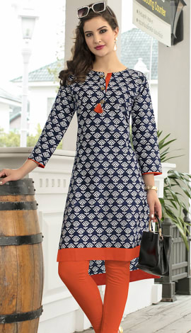 Navy Blue, Off White Cotton Kurti