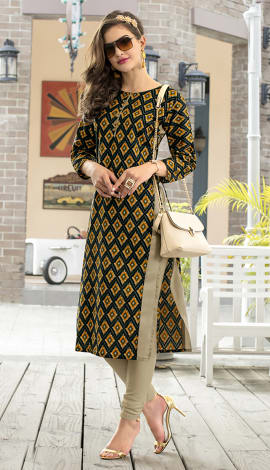 Yellow, Multi Cotton Kurti