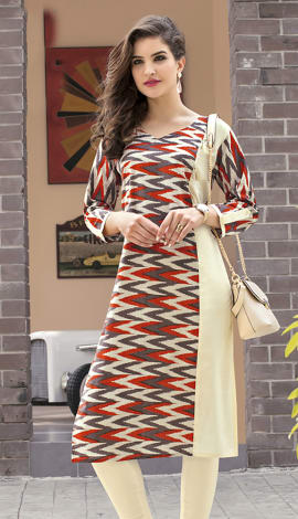 Beige, Brown, Multi Cotton Kurti
