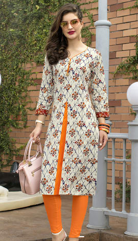 Beige, Orange, Multi Cotton Kurti