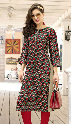 Red, Multi Cotton Kurti