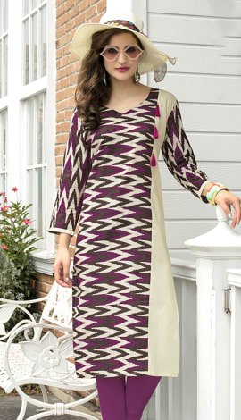 Beige, Purple, Multi Cotton Kurti