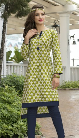 Green, Off White Cotton Kurti