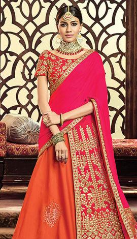 Orange Raw Silk & Taffeta Silk Saree