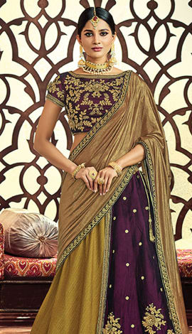 Mahendi Fancy Dupion & Velvet Saree