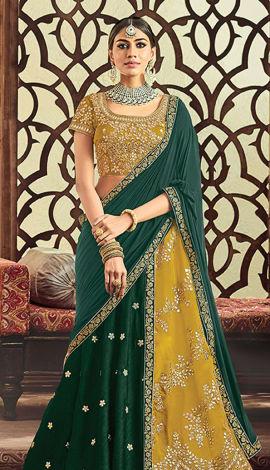 Yellow Raw Silk & Taffeta Silk Saree