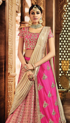 Pink Jeacquard Silk & Taffeta Silk Saree