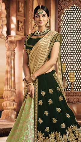 Light Green Jeacquard Silk & Velvet Saree