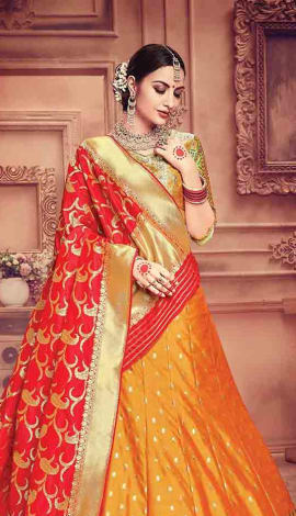 Orange Pure Banarasi Silk Lehenga