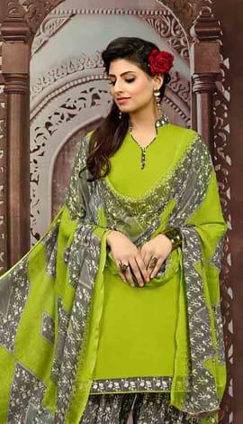 Green (Parrot Green) Cotton Salwar Kameez