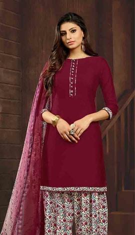 Marooon (Wine Colour) Cotton Salwar Kameez