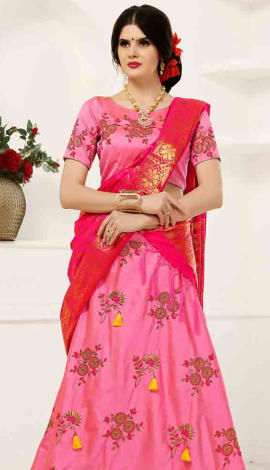 Rani Pink Soft Tifi Silk Lehenga