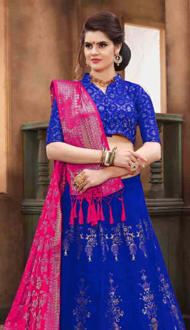 Royal Blue Banarasi Silk Lehenga