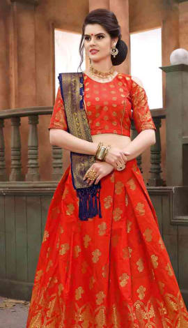 Orange Banarasi Silk Lehenga