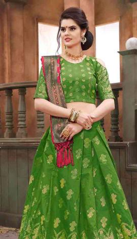 Parrot Banarasi Silk Lehenga