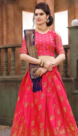 Rani Pink Banarasi Silk Lehenga