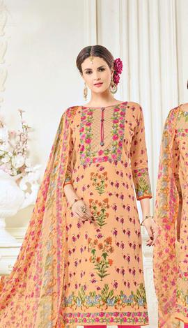 Peach Cotton Salwar Kameez