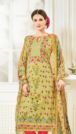 Light Green Cotton Salwar Kameez