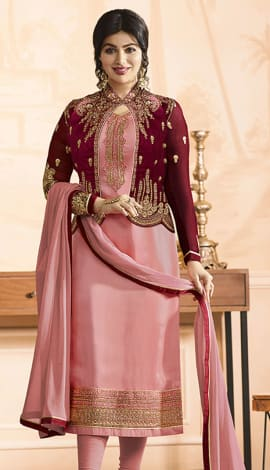 Light Pink Pure Georgette Satin, Jacket: Pure Banglori Salwar Kameez