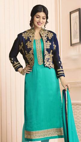 Sky Blue Pure Georgette Satin, Jacket: Pure Banglori Salwar Kameez