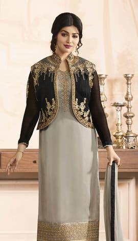 Grey Pure Georgette Satin, Jacket: Pure Banglori Salwar Kameez