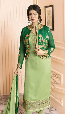 Light Green Pure Georgette Satin, Jacket: Pure Banglori Salwar Kameez