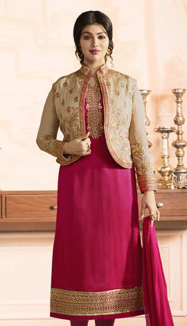 Pink Pure Georgette Satin, Jacket: Pure Banglori Salwar Kameez