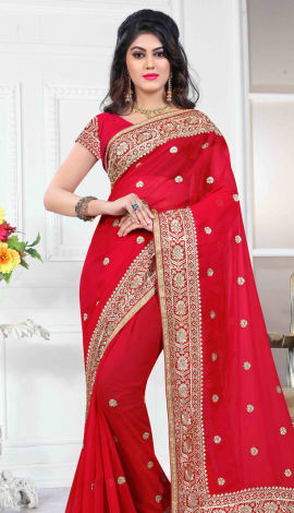 Red 60 Gm Georgette Saree