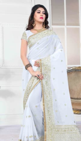 White 60 Gm Georgette Saree