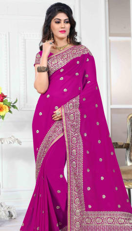 Majenta 60 Gm Georgette Saree