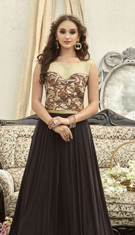 Dark Brown Fancy Fabric Gowns