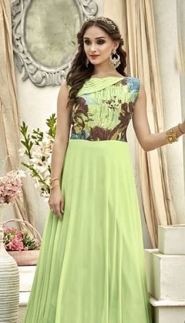 Light Green Fancy Fabric Gowns