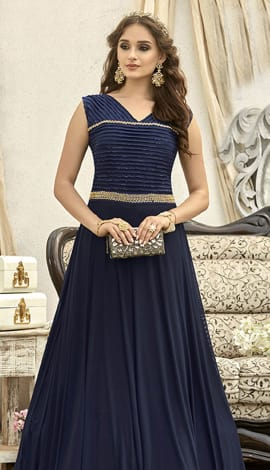 Navy Blue Fancy Fabric Gowns