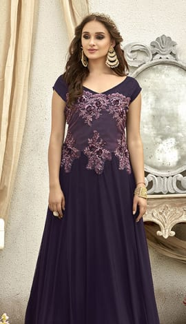 Dark Purple Fancy Fabric Gowns