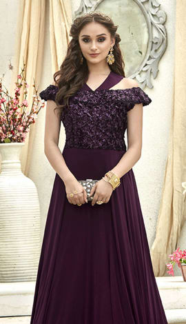 Dark Magenta Fancy Fabric Gowns