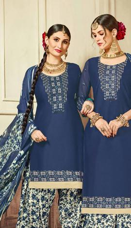 Cobalt Blue Cotton Satin Salwar Kameez