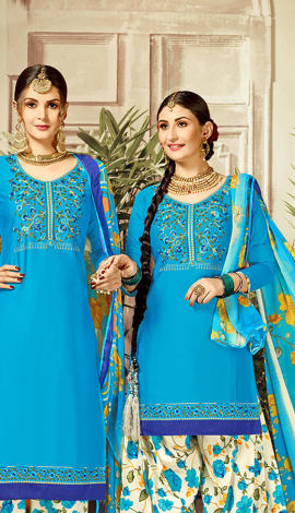 Blue Cotton Satin Salwar Kameez