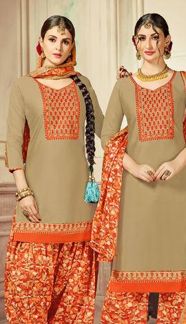Beige Cotton Satin Salwar Kameez