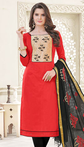 Red Banglori Cotton Salwar Kameez
