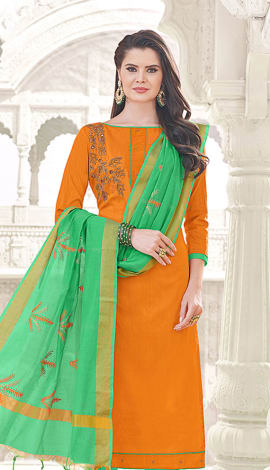 Orange Banglori Cotton Salwar Kameez