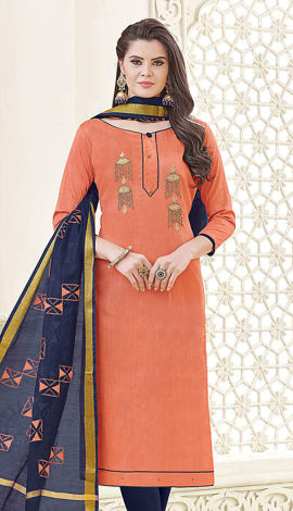 Peach Banglori Cotton Salwar Kameez