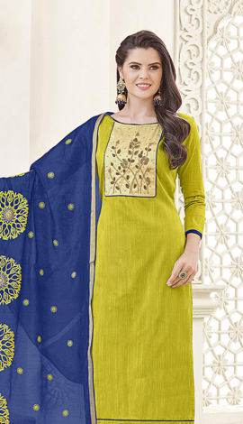 Green Banglori Cotton Salwar Kameez