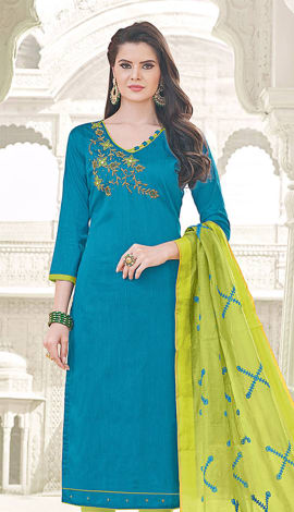 Blue Banglori Cotton Salwar Kameez
