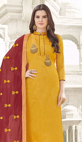Yellow Banglori Cotton Salwar Kameez